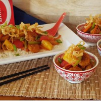 Sweet & Sour Chicken Munchies with Crunchy Wonton Noodles